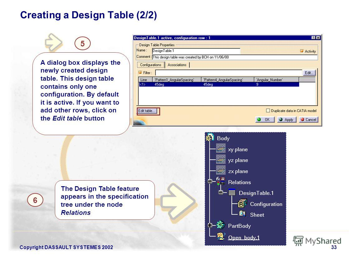Copyright DASSAULT SYSTEMES 200233 Creating a Design Table (2/2) 5 A dialog box displays the newly created design table. This design table contains only one configuration. By default it is active. If you want to add other rows, click on the Edit tabl
