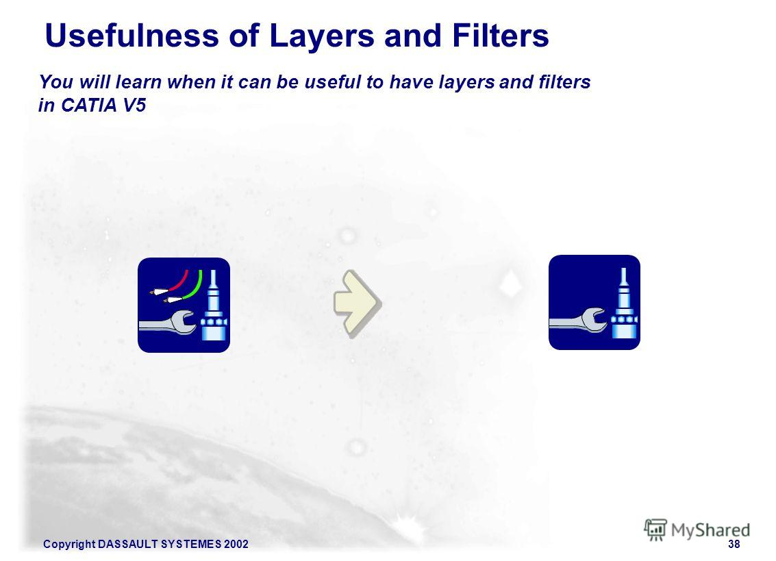 Copyright DASSAULT SYSTEMES 200238 You will learn when it can be useful to have layers and filters in CATIA V5 Usefulness of Layers and Filters