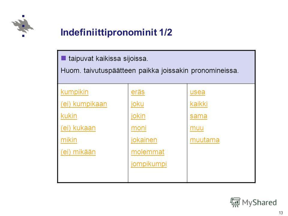13 Indefiniittipronominit 1/2 taipuvat kaikissa sijoissa. Huom. taivutuspäätteen paikka joissakin pronomineissa. kumpikin (ei) kumpikaan kukin (ei) kukaan mikin (ei) mikään eräs joku jokin moni jokainen molemmat jompikumpi usea kaikki sama muu muutam