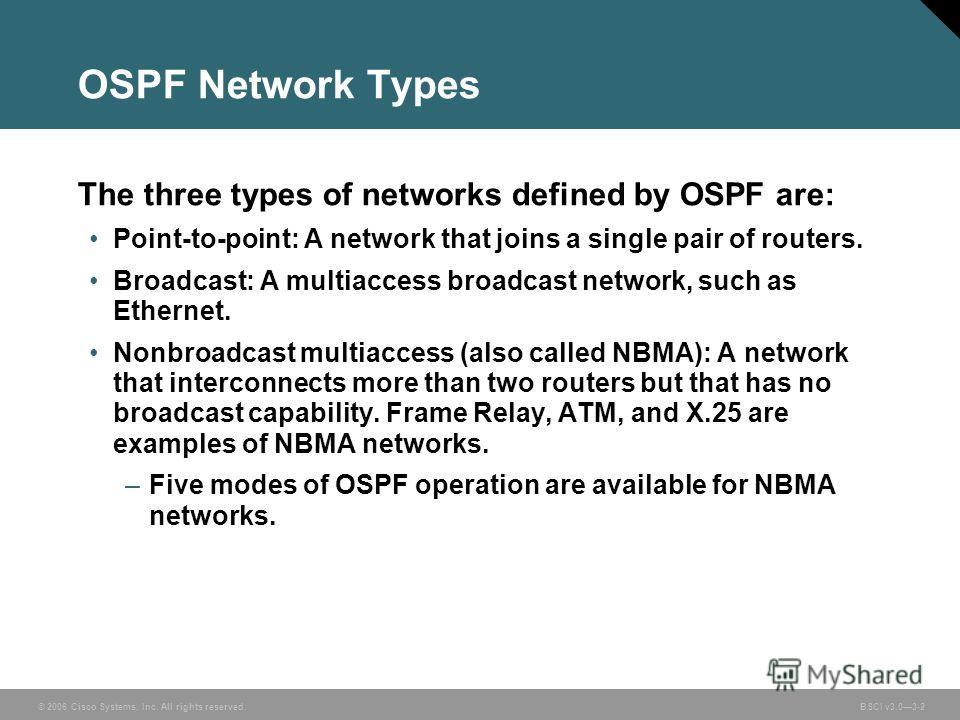 © 2006 Cisco Systems, Inc. All rights reserved. BSCI v3.03-2 OSPF Network Types The three types of networks defined by OSPF are: Point-to-point: A network that joins a single pair of routers. Broadcast: A multiaccess broadcast network, such as Ethern