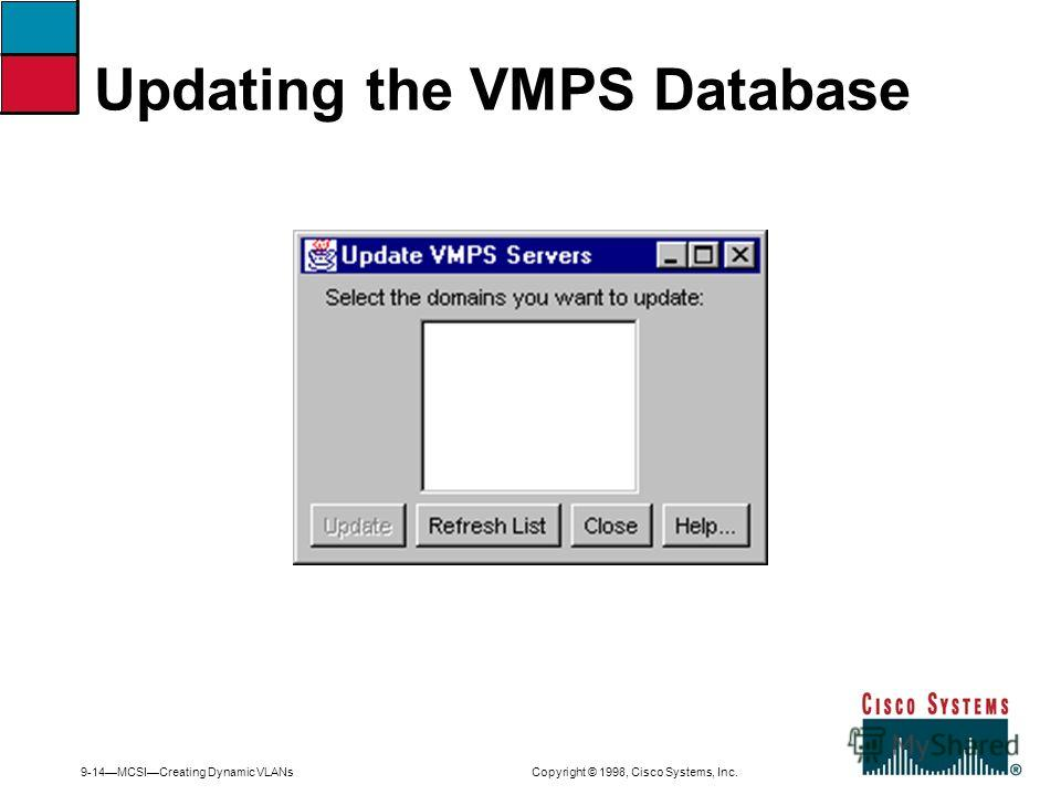 9-14MCSICreating Dynamic VLANs Copyright © 1998, Cisco Systems, Inc. Updating the VMPS Database