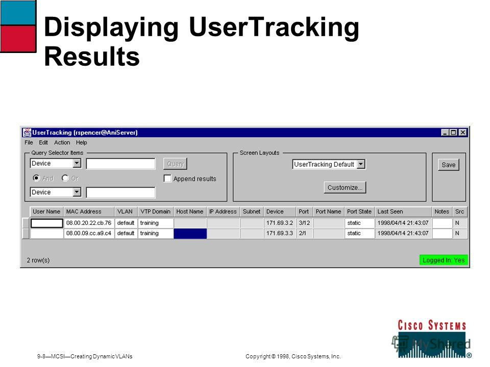 9-8MCSICreating Dynamic VLANs Copyright © 1998, Cisco Systems, Inc. Displaying UserTracking Results