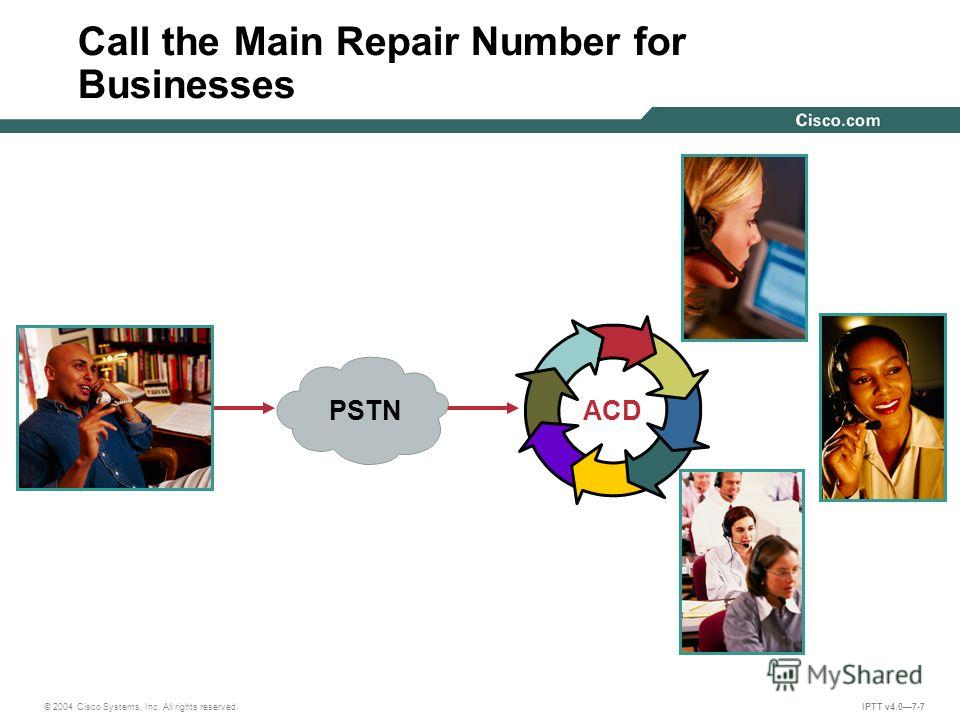 © 2004 Cisco Systems, Inc. All rights reserved. IPTT v4.07-7 Call the Main Repair Number for Businesses ACDPSTN
