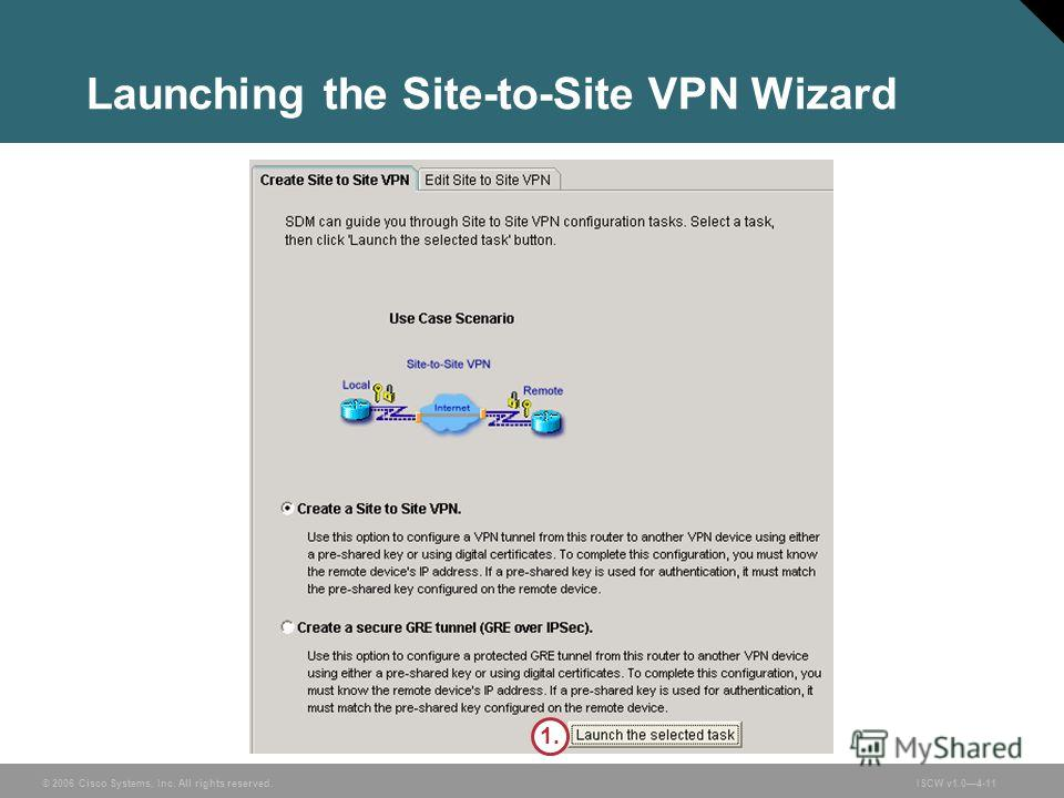 © 2006 Cisco Systems, Inc. All rights reserved.ISCW v1.04-11 Launching the Site-to-Site VPN Wizard 1.