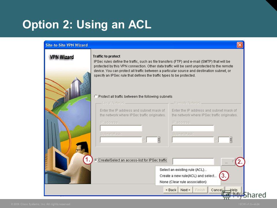 © 2006 Cisco Systems, Inc. All rights reserved.ISCW v1.04-24 Option 2: Using an ACL 1. 2. 3.
