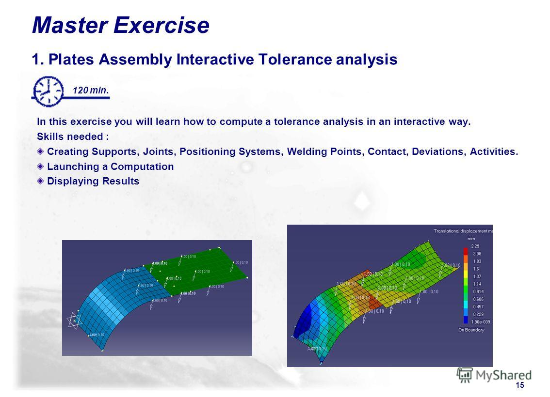 15 120 min. Master Exercise 1. Plates Assembly Interactive Tolerance analysis In this exercise you will learn how to compute a tolerance analysis in an interactive way. Skills needed : Creating Supports, Joints, Positioning Systems, Welding Points, C