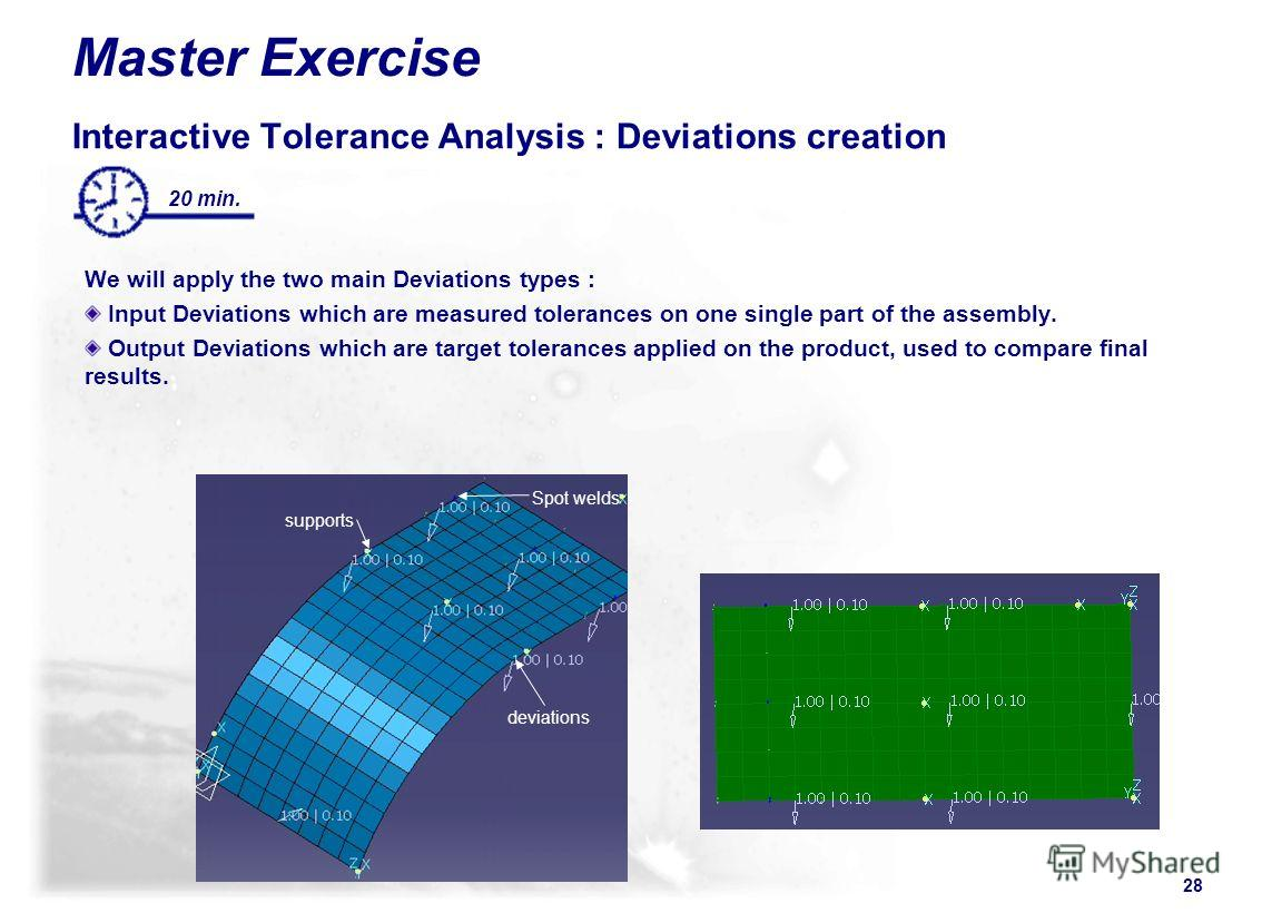 28 20 min. supports deviations Spot welds Master Exercise Interactive Tolerance Analysis : Deviations creation We will apply the two main Deviations types : Input Deviations which are measured tolerances on one single part of the assembly. Output Dev