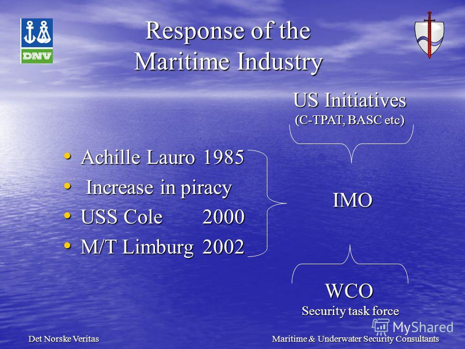 Det Norske Veritas Maritime & Underwater Security Consultants Response of the Maritime Industry Achille Lauro1985 Achille Lauro1985 Increase in piracy Increase in piracy USS Cole2000 USS Cole2000 M/T Limburg2002 M/T Limburg2002 WCO Security task forc