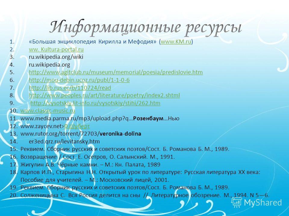 1.«Большая энциклопедия Кирилла и Мефодия» (www.KM.ru)www.KM.ru 2.ww. Kultura-portal.ruww. Kultura-portal.ru 3.ru.wikipedia.org/wiki 4.ru.wikipedia.org 5.http://www.agitclub.ru/museum/memorial/poesia/predislovie.htmhttp://www.agitclub.ru/museum/memor