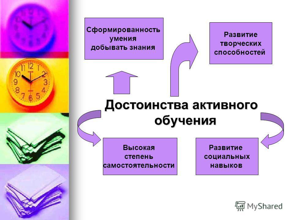 Достоинства активного обучения Достоинства активного обучения Высокая степень самостоятельности Развитие социальных навыков Сформированность умения добывать знания Развитие творческих способностей