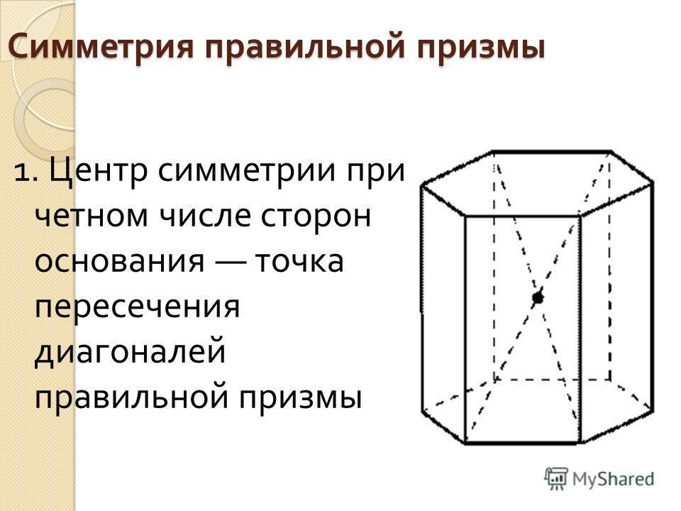 Симметрия правильной призмы 1. Центр симметрии при четном числе сторон основания точка пересечения диагоналей правильной призмы