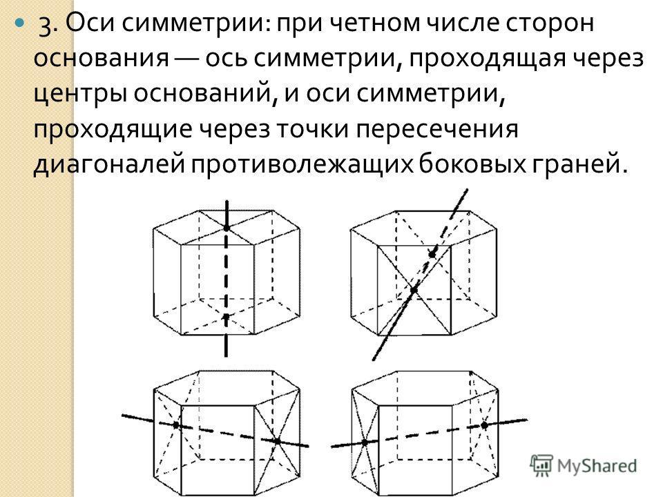 3. Оси симметрии : при четном числе сторон основания ось симметрии, проходящая через центры оснований, и оси симметрии, проходящие через точки пересечения диагоналей противолежащих боковых граней.