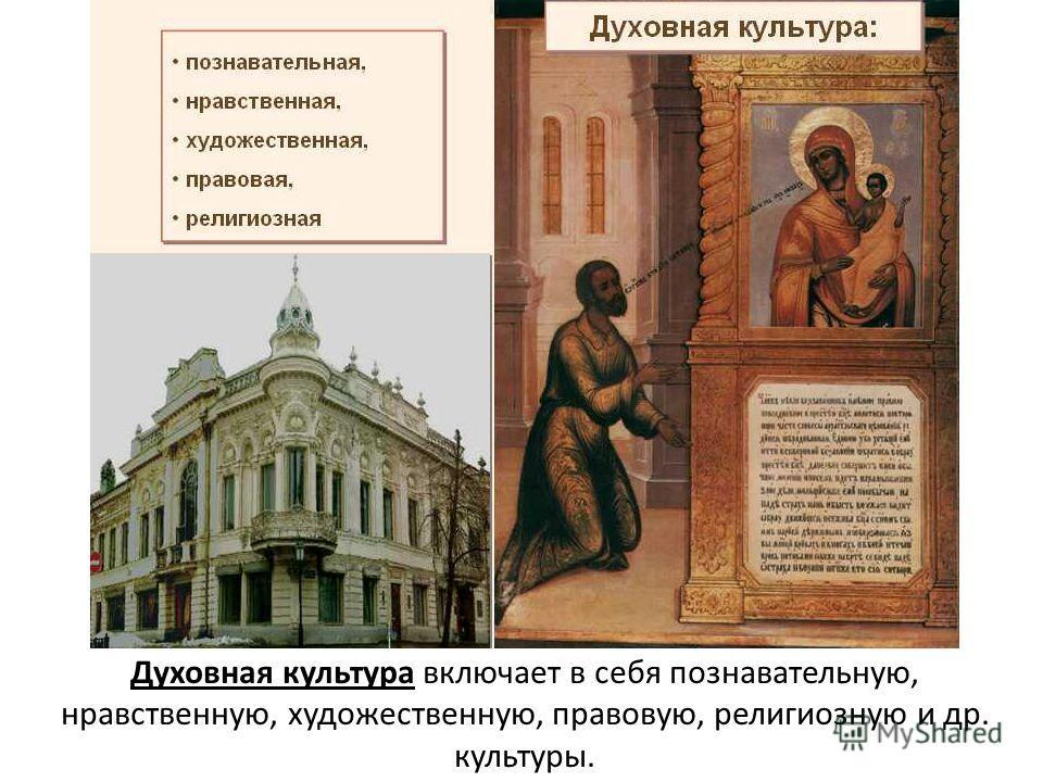 Духовная культура включает в себя познавательную, нравственную, художественную, правовую, религиозную и др. культуры.
