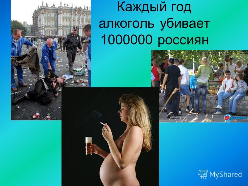 Каждый год алкоголь убивает 1000000 россиян