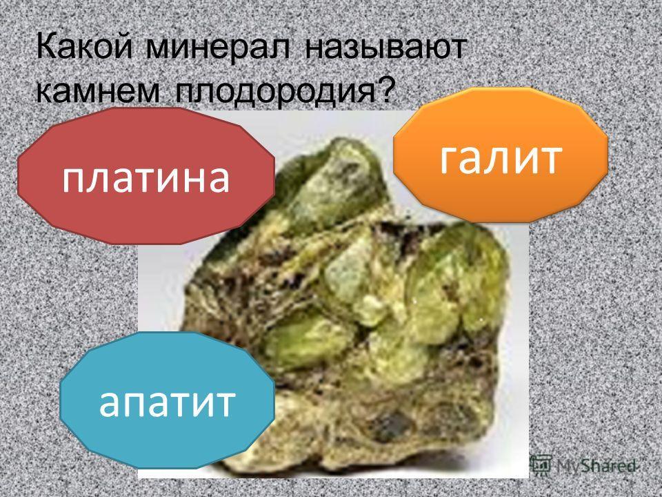 Какой минерал называют камнем плодородия? апатит платина галит