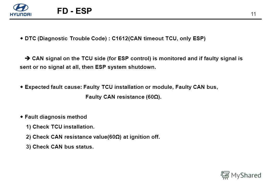 11 FD - ESP DTC (Diagnostic Trouble Code) : C1612(CAN timeout TCU, only ESP) CAN signal on the TCU side (for ESP control) is monitored and if faulty signal is sent or no signal at all, then ESP system shutdown. Expected fault cause: Faulty TCU instal