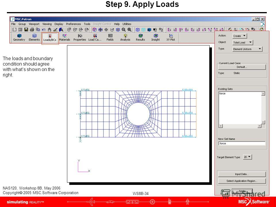 WS8B-34 NAS120, Workshop 8B, May 2006 Copyright 2005 MSC.Software Corporation Step 9. Apply Loads The loads and boundary condition should agree with whats shown on the right.