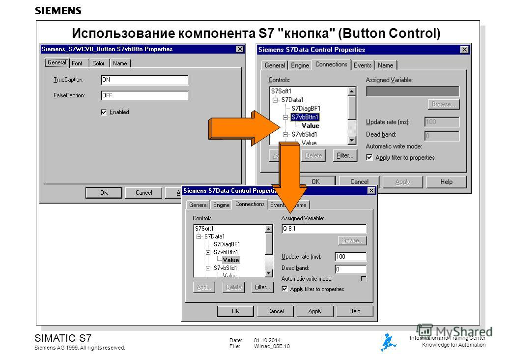 Date:01.10.2014 File:Winac_05E.10 SIMATIC S7 Siemens AG 1999. All rights reserved. Information and Training Center Knowledge for Automation Использование компонента S7 кнопка (Button Control)