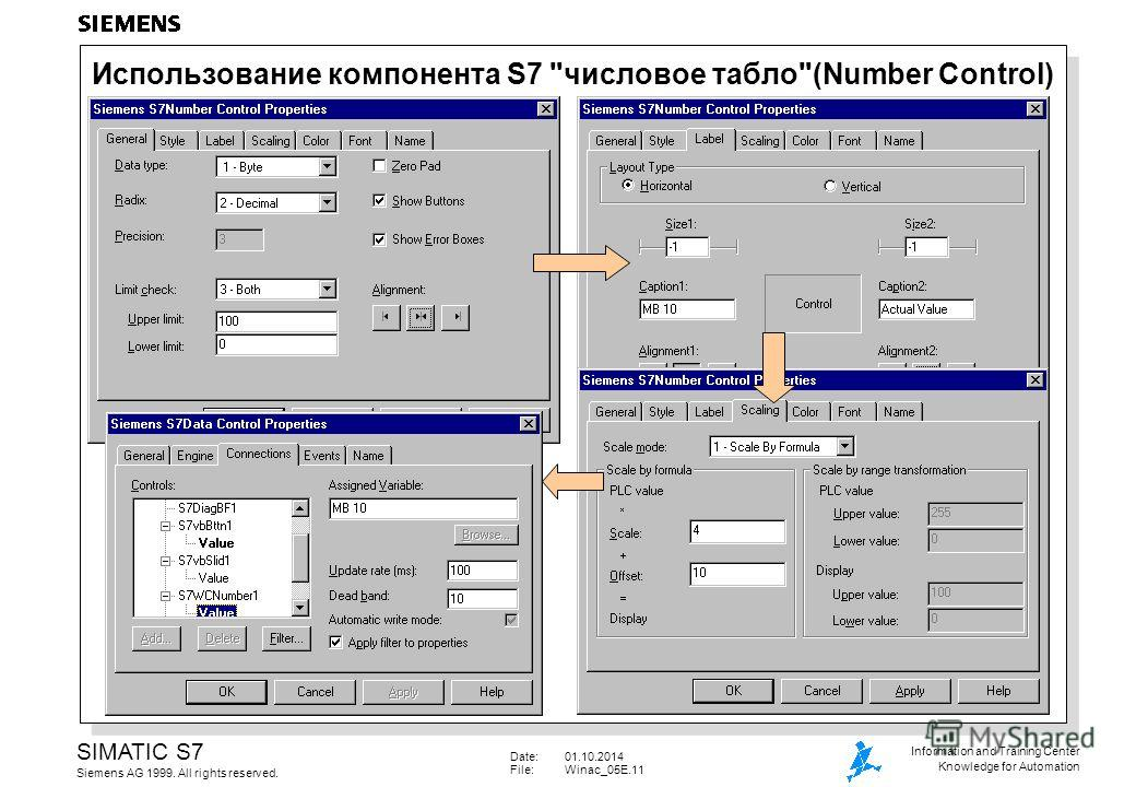 Date:01.10.2014 File:Winac_05E.11 SIMATIC S7 Siemens AG 1999. All rights reserved. Information and Training Center Knowledge for Automation Использование компонента S7 числовое табло(Number Control)