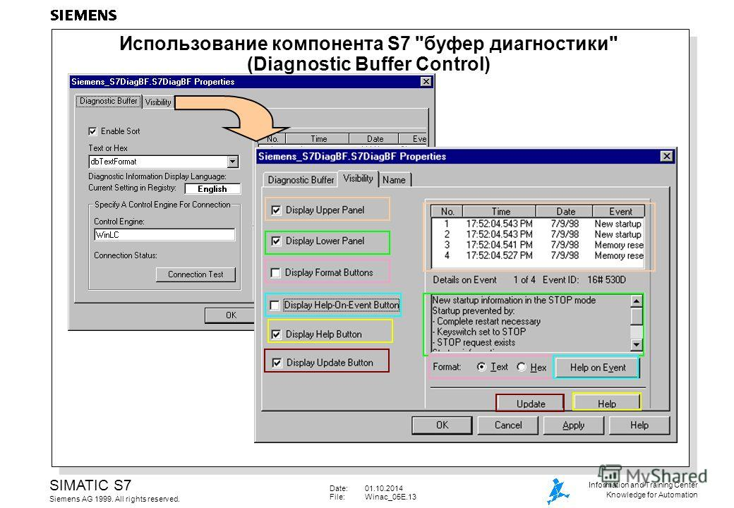 Date:01.10.2014 File:Winac_05E.13 SIMATIC S7 Siemens AG 1999. All rights reserved. Information and Training Center Knowledge for Automation Использование компонента S7 буфер диагностики (Diagnostic Buffer Control)