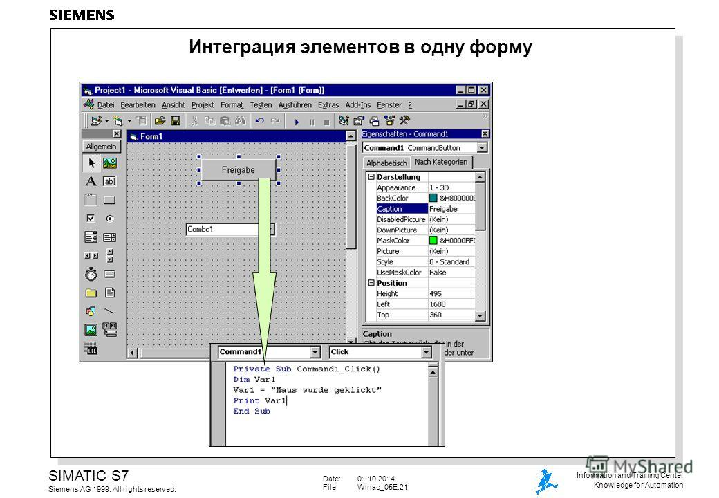 Date:01.10.2014 File:Winac_05E.21 SIMATIC S7 Siemens AG 1999. All rights reserved. Information and Training Center Knowledge for Automation Интеграция элементов в одну форму