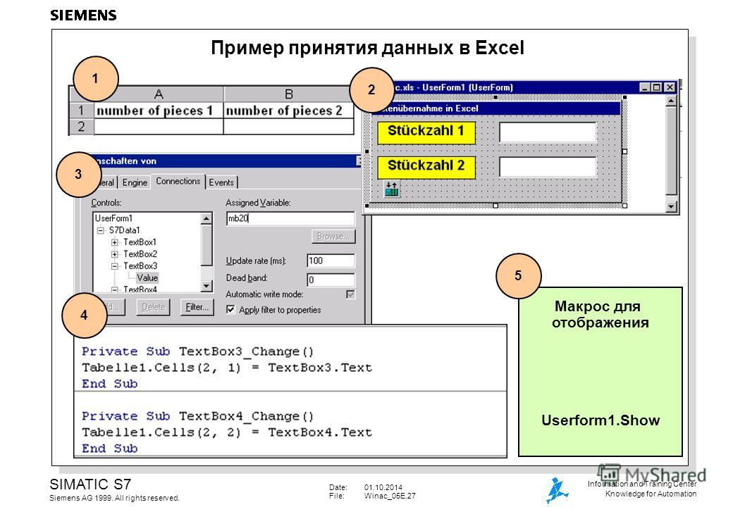 Date:01.10.2014 File:Winac_05E.27 SIMATIC S7 Siemens AG 1999. All rights reserved. Information and Training Center Knowledge for Automation Пример принятия данных в Excel 1 2 3 Макрос для отображения Userform1. Show 5 4