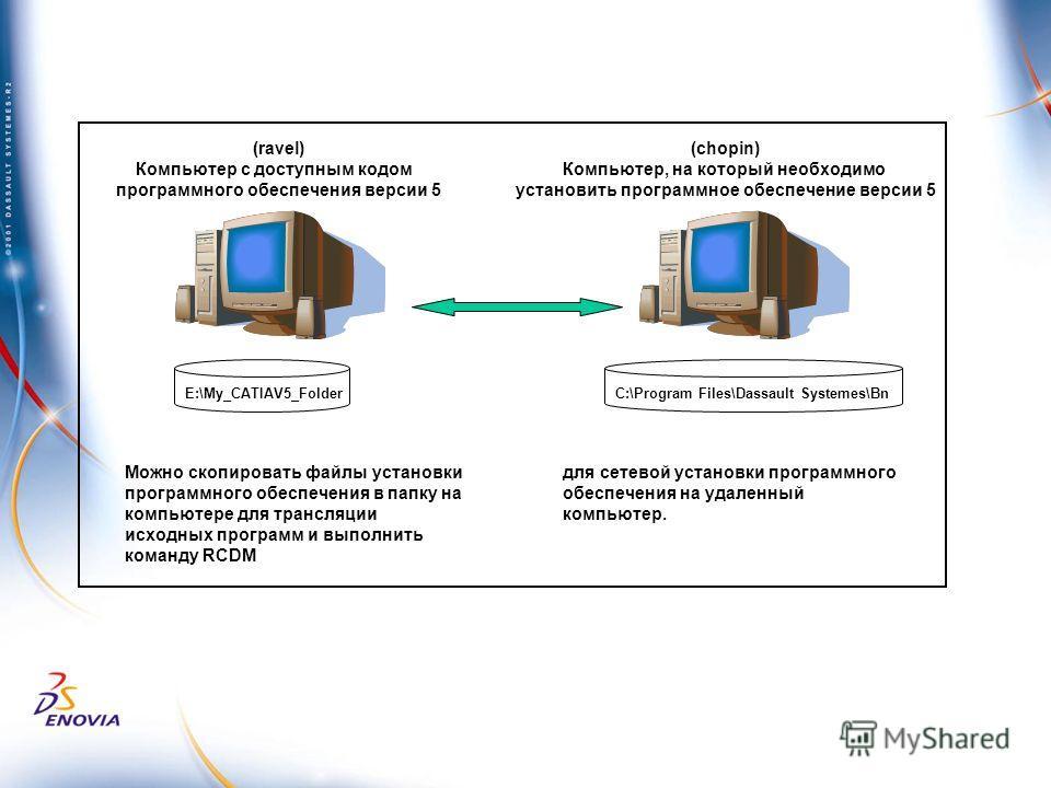 Можно скопировать файлы установки программного обеспечения в папку на компьютере для трансляции исходных программ и выполнить команду RCDM для сетевой установки программного обеспечения на удаленный компьютер. E:\My_CATIAV5_Folder (chopin) Компьютер,