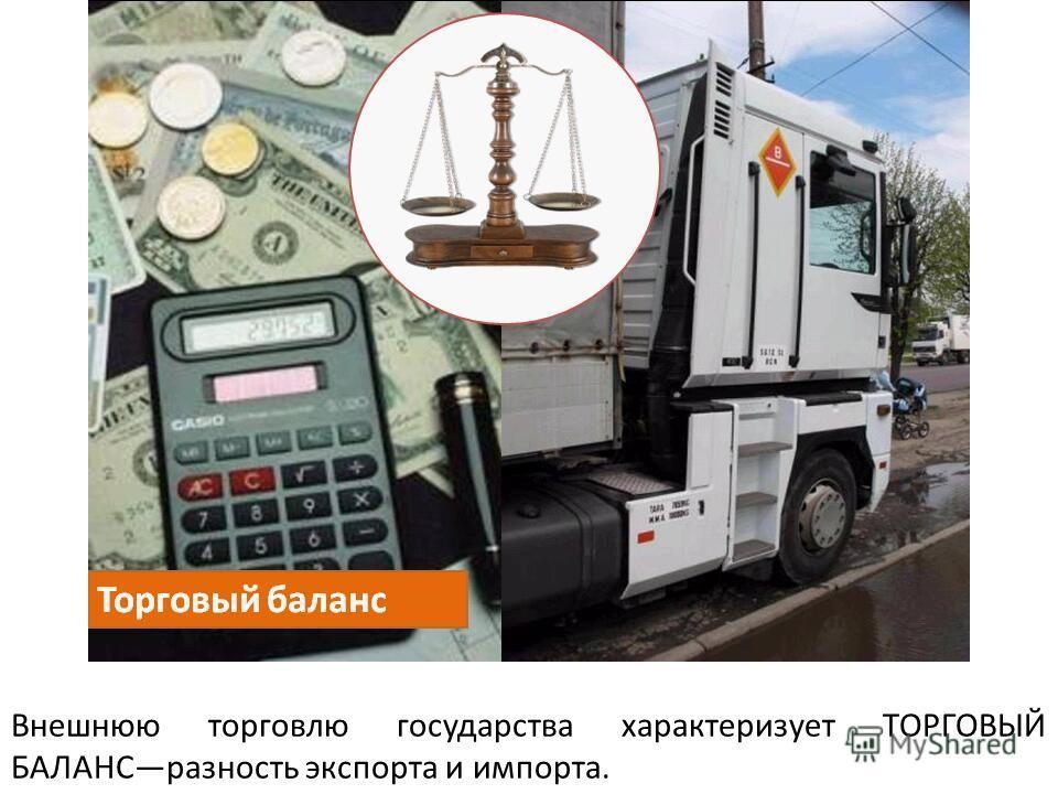 Внешнюю торговлю государства характеризует ТОРГОВЫЙ БАЛАНСразность экспорта и импорта.