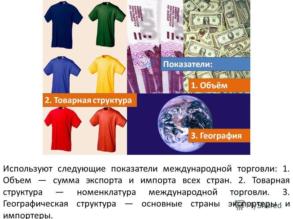 Используют следующие показатели международной торговли: 1. Объем сумма экспорта и импорта всех стран. 2. Товарная структура номенклатура международной торговли. 3. Географическая структура основные страны экспортеры и импортеры.