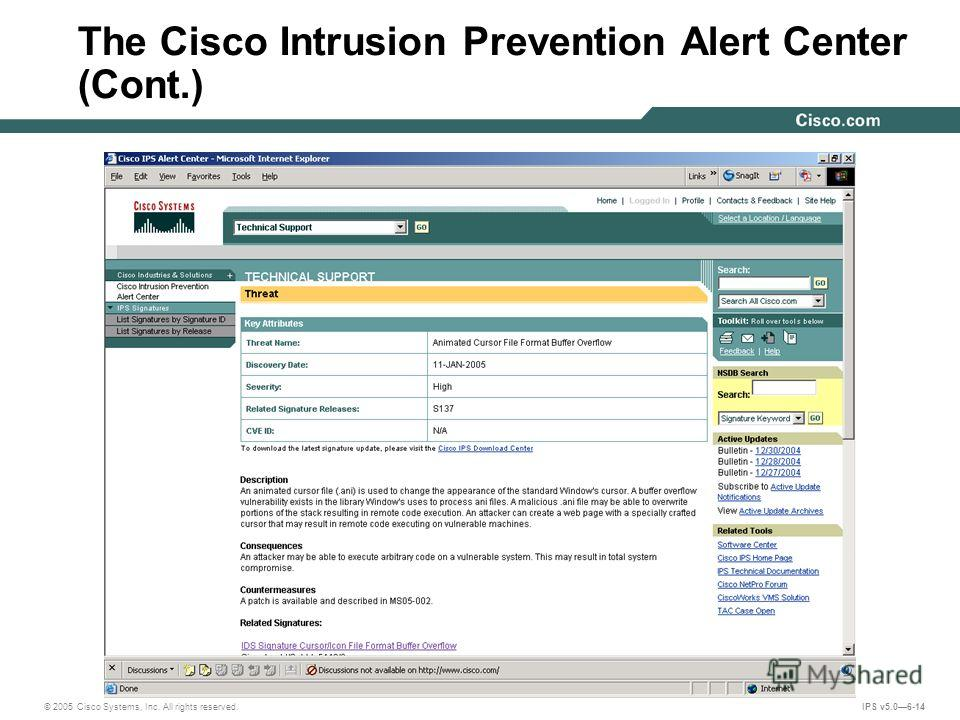 © 2005 Cisco Systems, Inc. All rights reserved. IPS v5.06-14 The Cisco Intrusion Prevention Alert Center (Cont.)