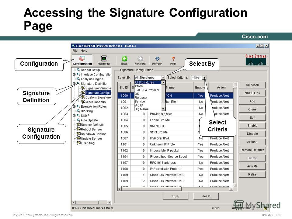 © 2005 Cisco Systems, Inc. All rights reserved. IPS v5.06-18 Accessing the Signature Configuration Page ConfigurationSelect By Signature Definition Signature Configuration Select Criteria