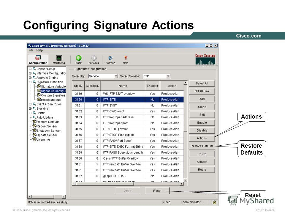 © 2005 Cisco Systems, Inc. All rights reserved. IPS v5.06-23 Configuring Signature Actions Restore Defaults Reset Actions