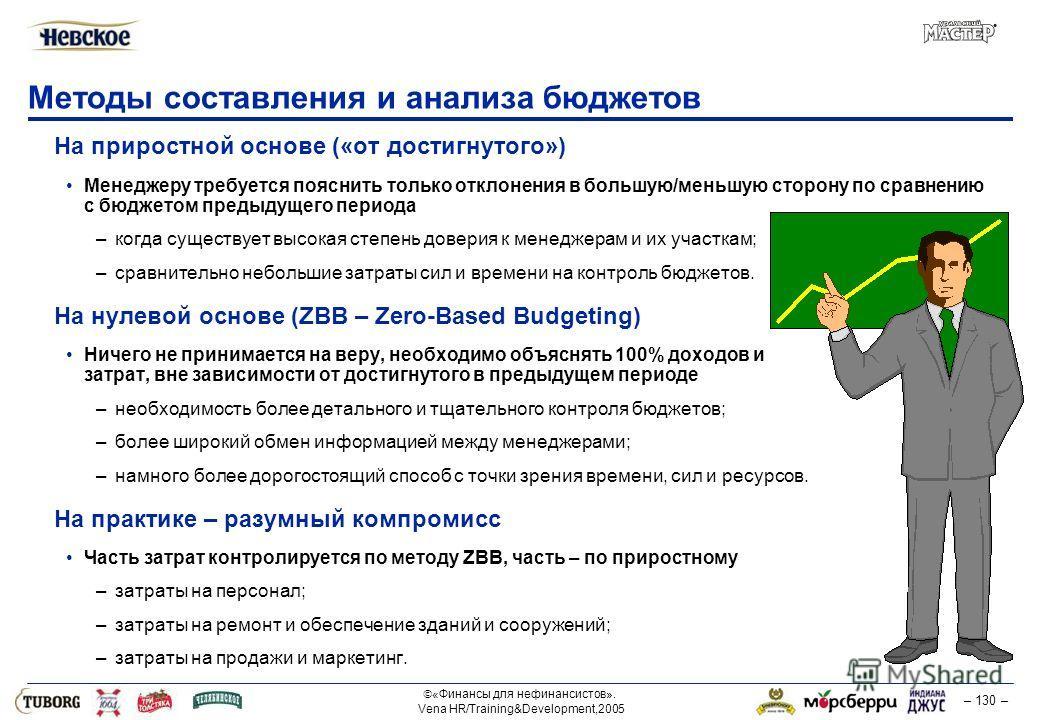 «Финансы для нефинансистов». Vena HR/Training&Development,2005 – 130 – Методы составления и анализа бюджетов На приростной основе («от достигнутого») Менеджеру требуется пояснить только отклонения в большую/меньшую сторону по сравнению с бюджетом пре