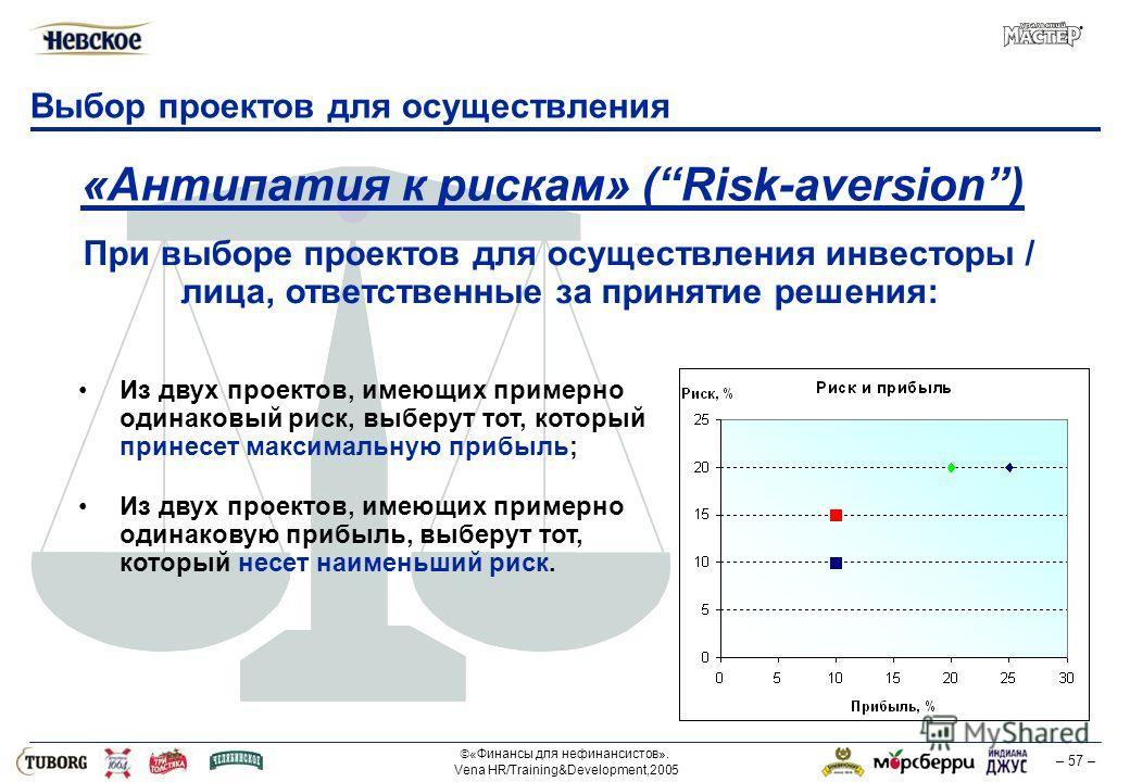 «Финансы для нефинансистов». Vena HR/Training&Development,2005 – 57 – Выбор проектов для осуществления «Антипатия к рискам» (Risk-aversion) Из двух проектов, имеющих примерно одинаковый риск, выберут тот, который принесет максимальную прибыль; Из дву