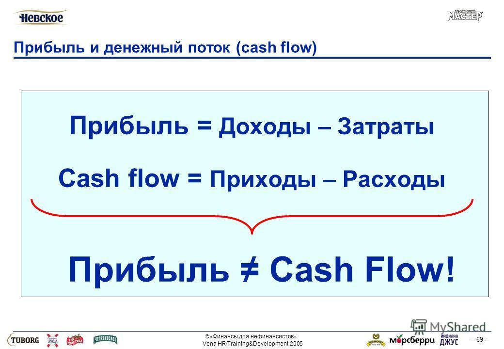 «Финансы для нефинансистов». Vena HR/Training&Development,2005 – 69 – Прибыль и денежный поток (cash flow) Прибыль = Доходы – Затраты Cash flow = Приходы – Расходы Прибыль Cash Flow!