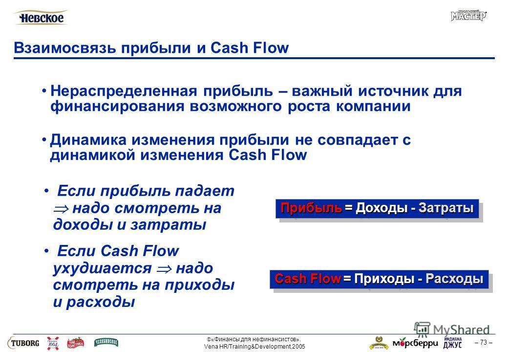 «Финансы для нефинансистов». Vena HR/Training&Development,2005 – 73 – Взаимосвязь прибыли и Cash Flow Нераспределенная прибыль – важный источник для финансирования возможного роста компании Динамика изменения прибыли не совпадает с динамикой изменени