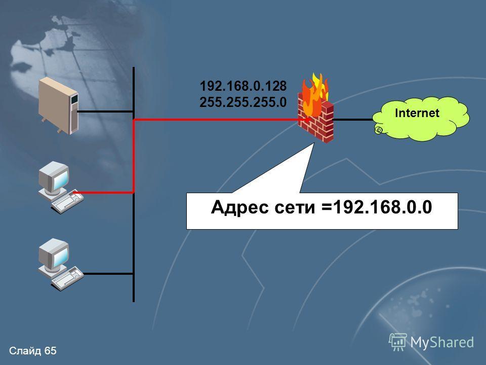 Слайд 64 Internet Настройки на внутреннем интерфейсе Адреса, в которых адрес сети совпадает с адресом сети интерфейса МЭ