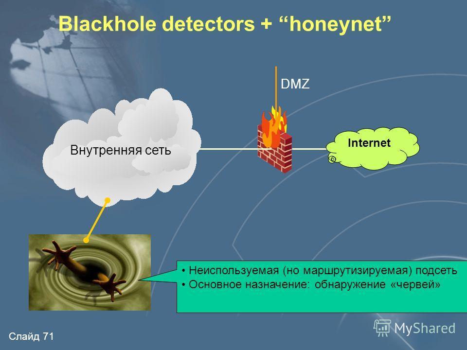 Слайд 70 Internet Типовая схема honeynet Linux Windows Система обнаружения атак Сервер регистрации Другие ОС