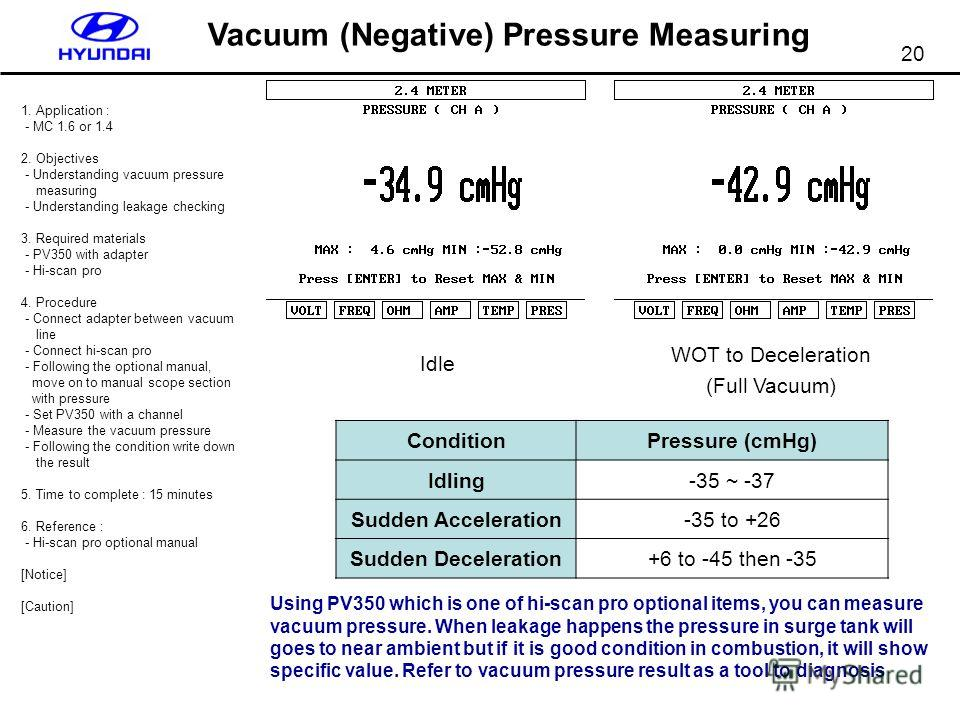 20 Vacuum (Negative) Pressure Measuring 1. Application : - MC 1.6 or 1.4 2. Objectives - Understanding vacuum pressure measuring - Understanding leakage checking 3. Required materials - PV350 with adapter - Hi-scan pro 4. Procedure - Connect adapter