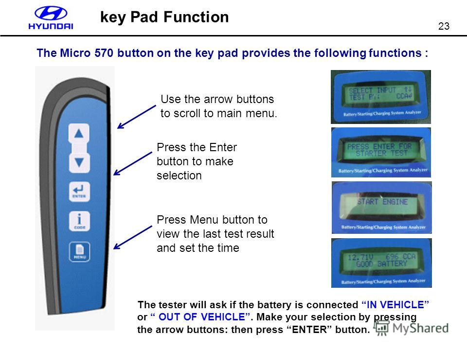 23 key Pad Function The Micro 570 button on the key pad provides the following functions : Use the arrow buttons to scroll to main menu. Press the Enter button to make selection Press Menu button to view the last test result and set the time The test