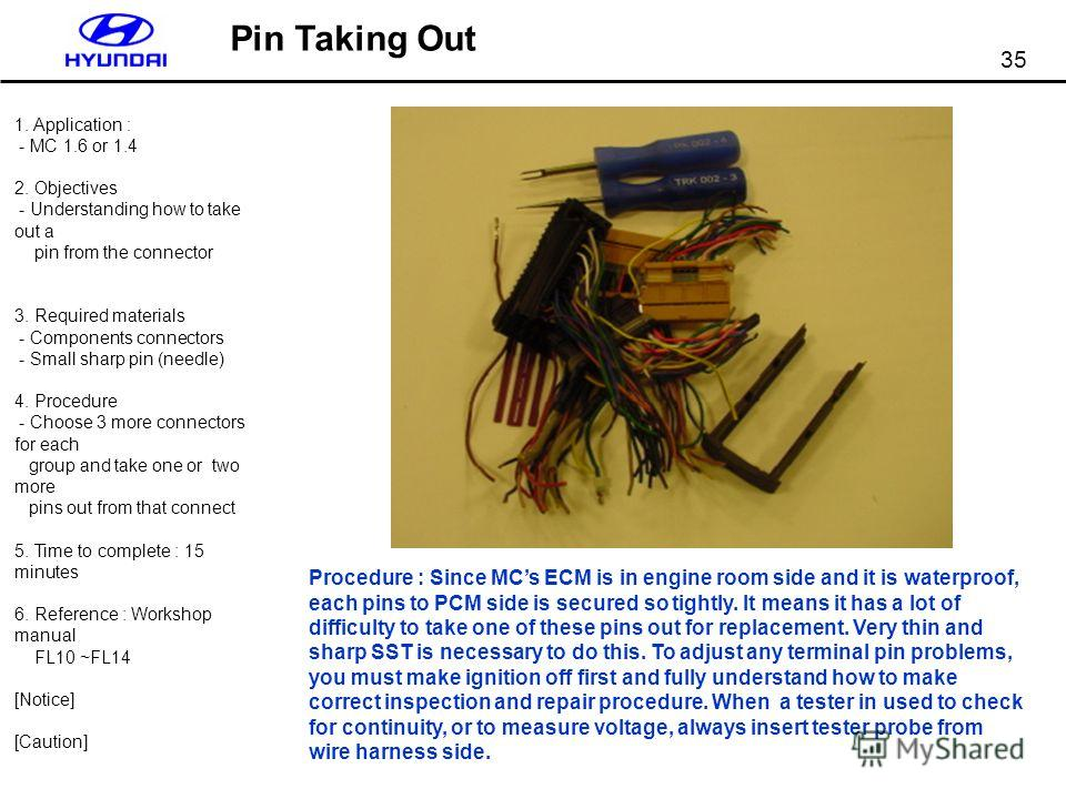 35 Pin Taking Out 1. Application : - MC 1.6 or 1.4 2. Objectives - Understanding how to take out a pin from the connector 3. Required materials - Components connectors - Small sharp pin (needle) 4. Procedure - Choose 3 more connectors for each group