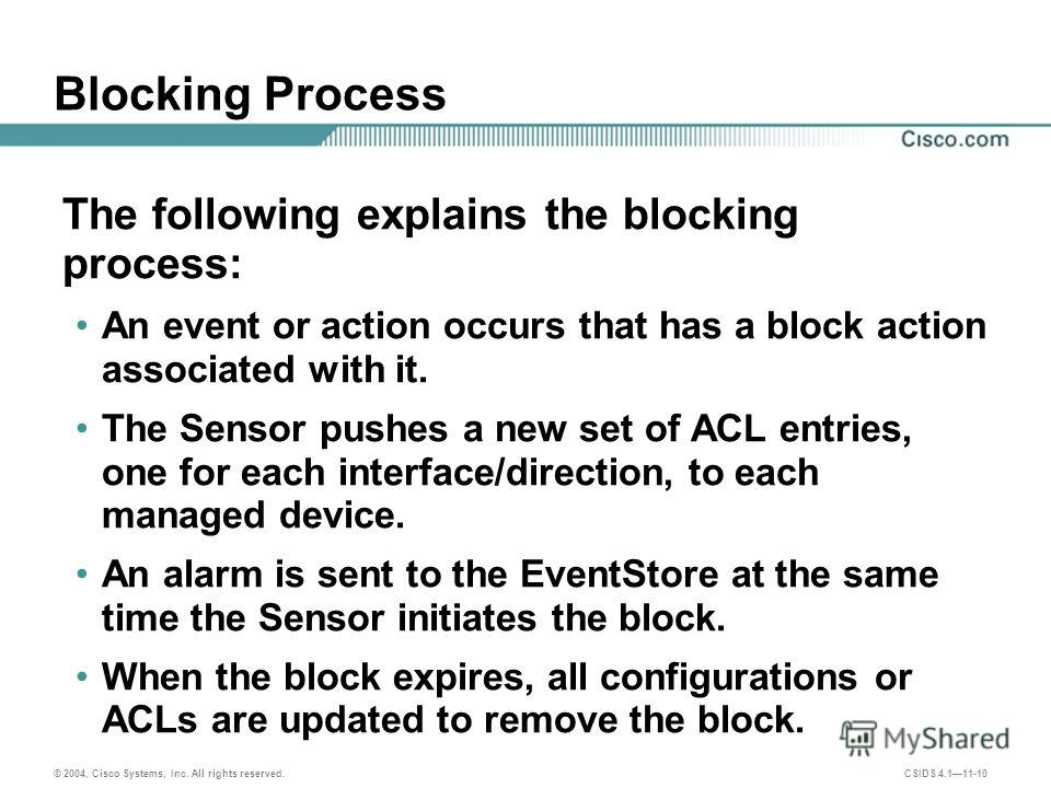© 2004, Cisco Systems, Inc. All rights reserved. CSIDS 4.111-10 Blocking Process The following explains the blocking process: An event or action occurs that has a block action associated with it. The Sensor pushes a new set of ACL entries, one for ea