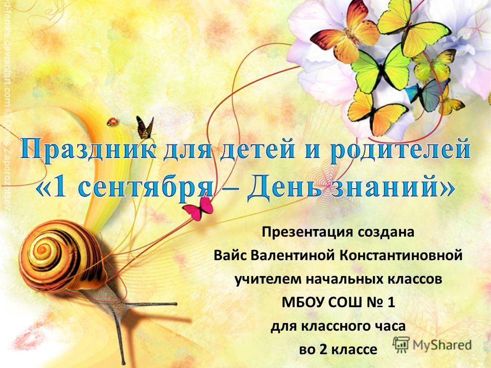 Презентация создана Вайс Валентиной Константиновной учителем начальных классов МБОУ СОШ 1 для классного часа во 2 классе