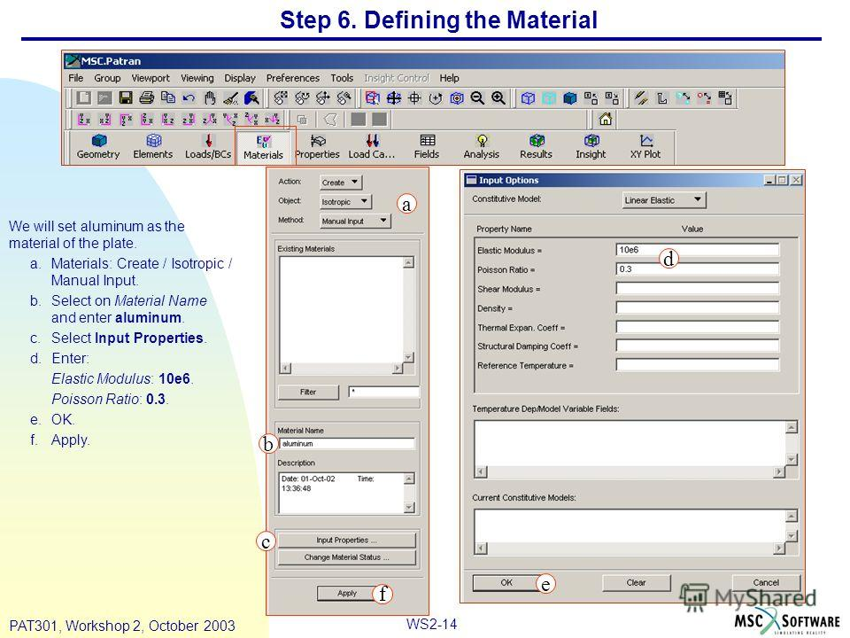 WS2-14 PAT301, Workshop 2, October 2003 Step 6. Defining the Material We will set aluminum as the material of the plate. a.Materials: Create / Isotropic / Manual Input. b.Select on Material Name and enter aluminum. c.Select Input Properties. d.Enter: