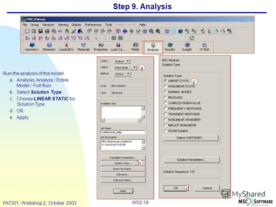 WS2-18 PAT301, Workshop 2, October 2003 Step 9. Analysis Run the analysis of the model. a.Analysis: Analyze / Entire Model / Full Run. b.Select Solution Type. c.Choose LINEAR STATIC for Solution Type. d.OK. e.Apply. a b c d