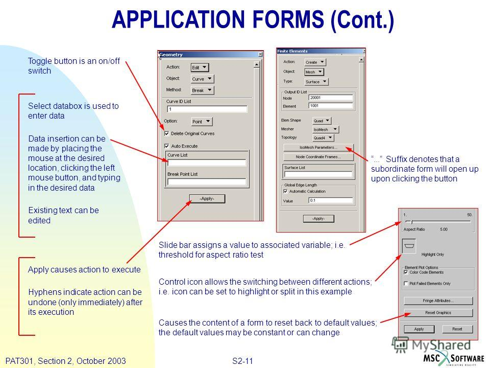 S2-11PAT301, Section 2, October 2003 APPLICATION FORMS (Cont.) Toggle button is an on/off switch Select databox is used to enter data Data insertion can be made by placing the mouse at the desired location, clicking the left mouse button, and typing