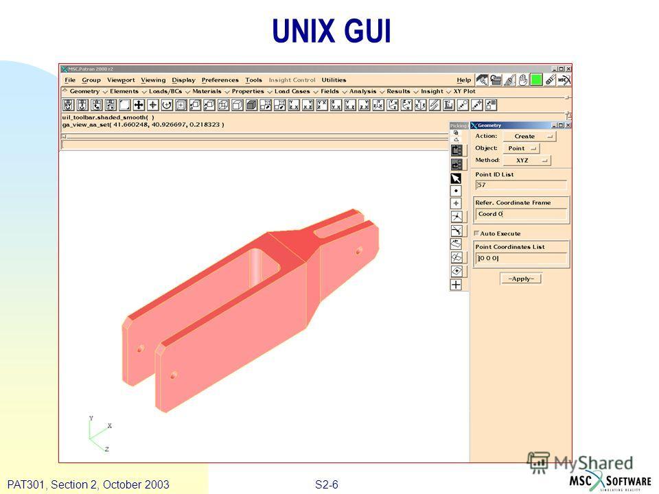 S2-6PAT301, Section 2, October 2003 UNIX GUI