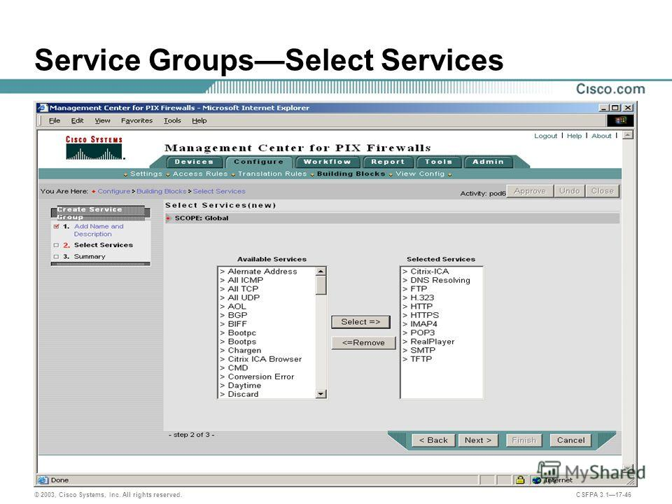 © 2003, Cisco Systems, Inc. All rights reserved. CSFPA 3.117-46 Service GroupsSelect Services