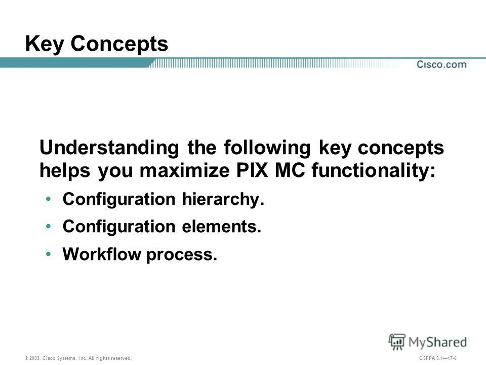© 2003, Cisco Systems, Inc. All rights reserved. CSFPA 3.117-6 Key Concepts Understanding the following key concepts helps you maximize PIX MC functionality: Configuration hierarchy. Configuration elements. Workflow process.