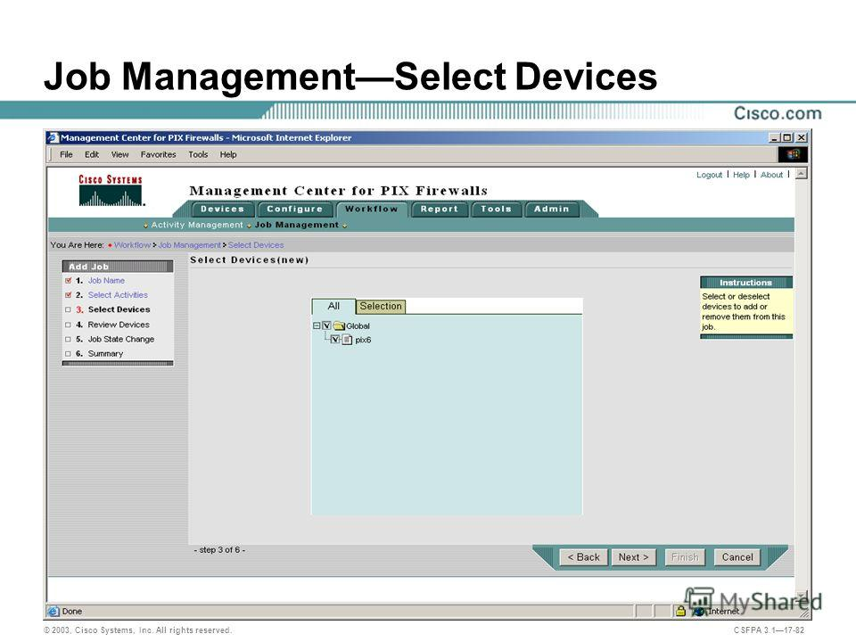 © 2003, Cisco Systems, Inc. All rights reserved. CSFPA 3.117-82 Job ManagementSelect Devices